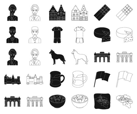 Country Belgium black,outline icons in set collection for design.Travel and attractions Belgium vector symbol stock web illustration.