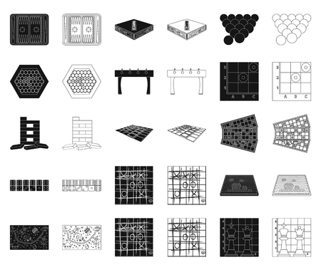 Board game black,outline icons in set collection for design. Game and entertainment vector symbol stock web illustration. Ilustração