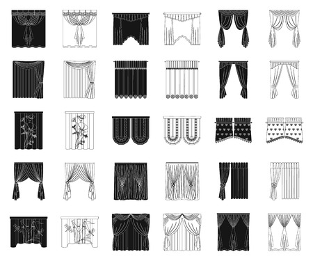 Different kinds of curtains black,outline icons in set collection for design. Curtains and lambrequins vector symbol stock web illustration.