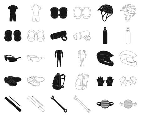 Bicycle outfit black,outline icons in set collection for design. Bicycle and tool vector symbol stock web illustration.