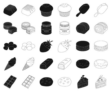 Chocolate Dessert black,outline icons in set collection for design. Chocolate and Sweets vector symbol stock web illustration.