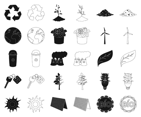 Bio and ecology black,outline icons in set collection for design. An ecologically pure product vector symbol stock web illustration.
