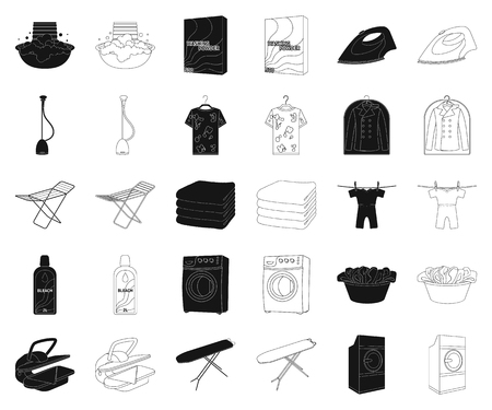 Dry cleaning equipment black,outline icons in set collection for design. Washing and ironing clothes vector symbol stock web illustration.