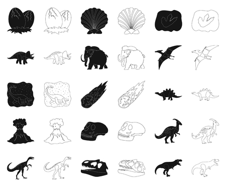 Différents dinosaures noirs, icônes de contour dans la collection de jeu pour la conception. Illustration de stock de symbole de vecteur animal préhistorique.