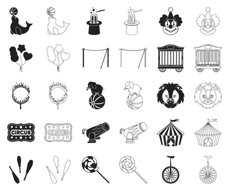 Circus and attributes black,outline icons in set collection for design. Circus Art vector symbol stock web illustration.
