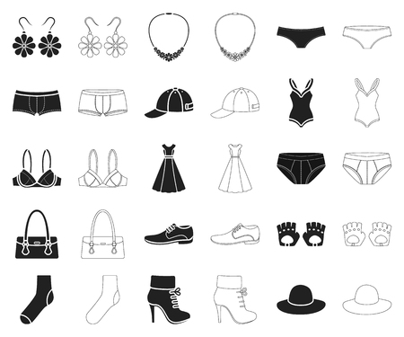 Clothes and accessories black,outline icons in set collection for design. Shoes and decoration vector symbol stock illustration. 일러스트