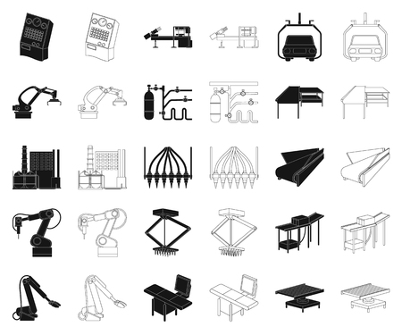 Equipment and machine black,outline icons in set collection for design. Technical progress of the factory vector symbol stock illustration.