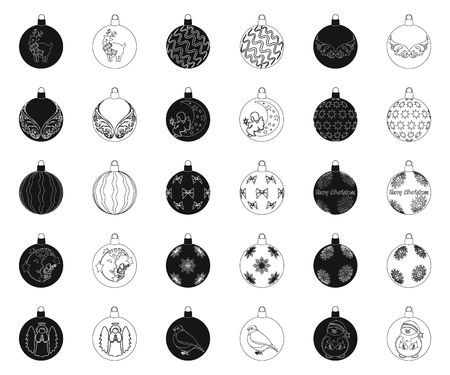 Christmas toys black,outline icons in set collection for design.New Year balls vector symbol stock illustration.