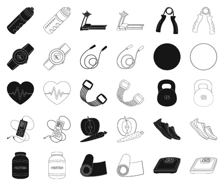 Gym and training black,outline icons in set collection for design. Gym and equipment vector symbol stock illustration.