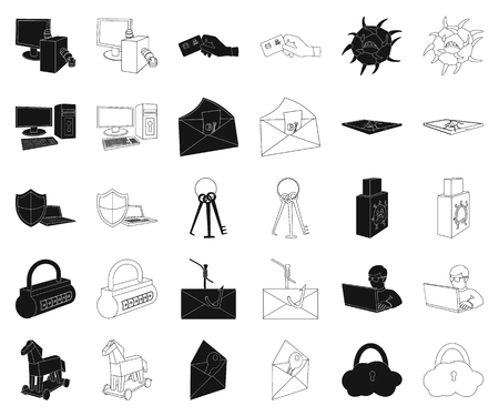 Hacker and hacking black,outline icons in set collection for design. Hacker and equipment vector symbol stock web illustration. Illustration