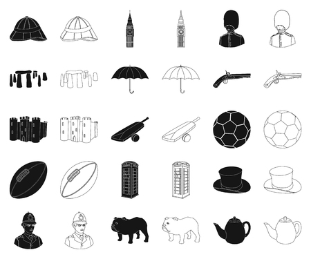 England country black,outline icons in set collection for design.Travel and attractions vector symbol stock web illustration. Vettoriali