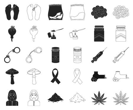 La adicción a las drogas y los atributos negros, iconos de contorno de colección set de diseño. Ilustración de stock de símbolo de vector de adicto y droga.