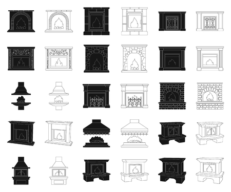 Different kinds of fireplaces black,outline icons in set collection for design.Fireplaces construction vector symbol stock web illustration.