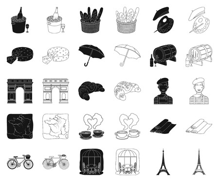 Country France black,outline icons in set collection for design. France and landmark vector symbol stock web illustration. 矢量图像