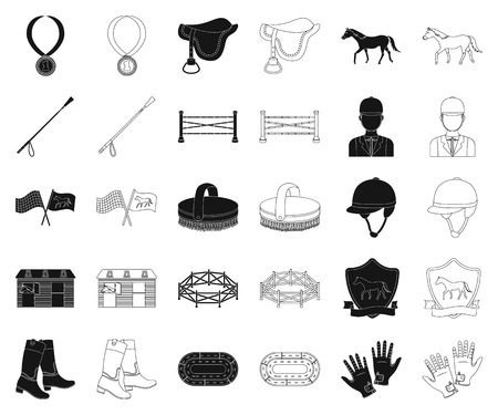 Hippodrome and horse black,outline icons in set collection for design. Horse Racing and Equipment vector symbol stock web illustration. Ilustrace