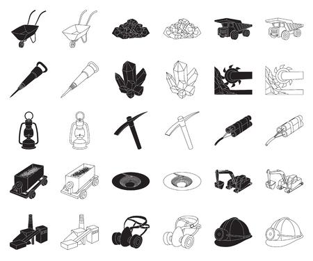 Mining industry black,outline icons in set collection for design. Equipment and tools vector symbol stock web illustration. Vektoros illusztráció