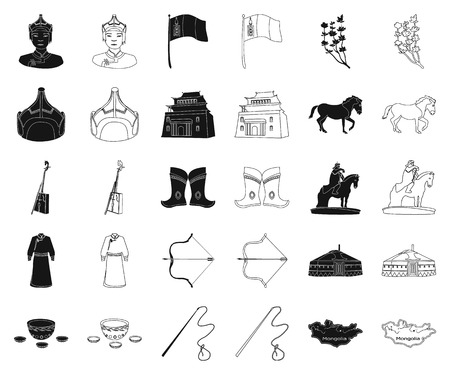 Country Mongolia black,outline icons in set collection for design.Territory and landmark vector symbol stock web illustration.