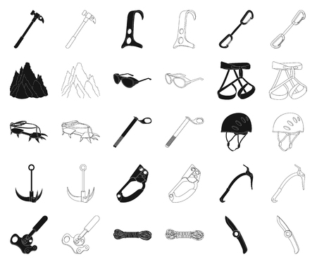 Mountaineering and climbing black,outline icons in set collection for design. Equipment and accessories vector symbol stock web illustration.