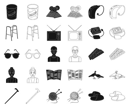 Human old age black,outline icons in set collection for design. Pensioner, period of life vector symbol stock web illustration. Ilustracja