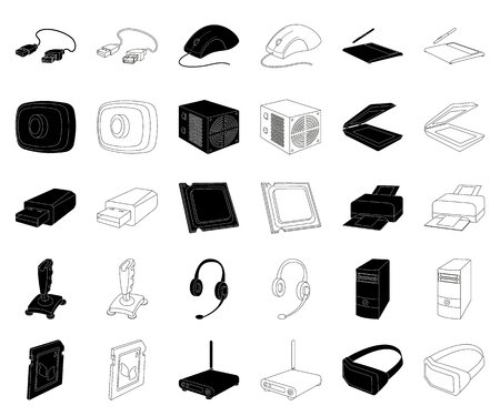 Personal computer black,outline icons in set collection for design. Equipment and accessories vector symbol stock web illustration.