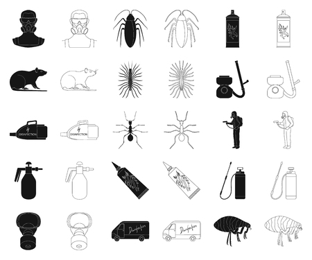 Pest, poison, personnel and equipment black,outline icons in set collection for design. Pest control service vector symbol stock web illustration.