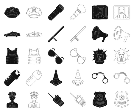 Police, Department black,outline icons in set collection for design.Detective and accessories vector symbol stock web illustration.
