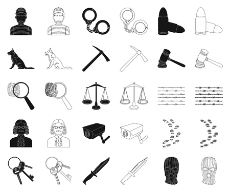 Prison and the criminal black,outline icons in set collection for design.Prison and Attributes vector symbol stock illustration.