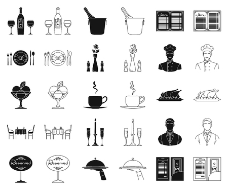 Restaurant and bar black,outline icons in set collection for design. Pleasure, food and alcohol vector symbol stock web illustration.