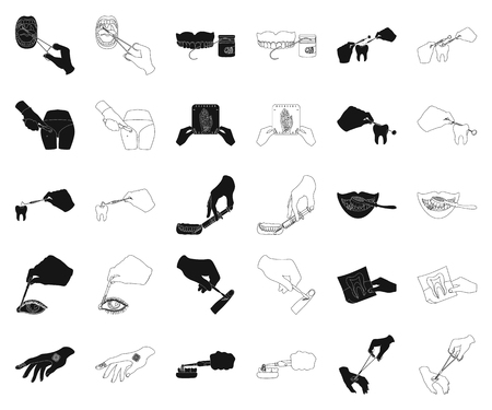 Manipulation by hands black,outline icons in set collection for design. Hand movement in medicine vector symbol stock illustration.