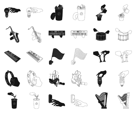 Manipulation by hands black,outline icons in set collection for design. Hand movement vector symbol stock web illustration.