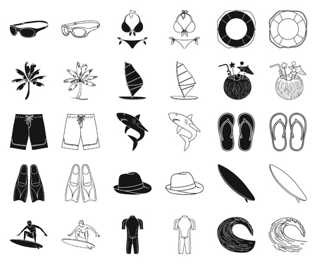Surfing and extreme black,outline icons in set collection for design. Surfer and accessories vector symbol stock web illustration. Illustration
