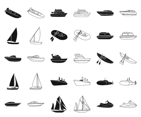 Water and sea transport black,outline icons in set collection for design. A variety of boats and ships vector symbol stock web illustration.