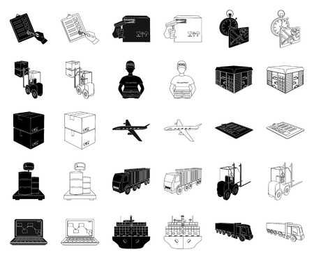 Logistics and delivery black,outline icons in set collection for design. Transport and equipment isometric vector symbol stock web illustration.