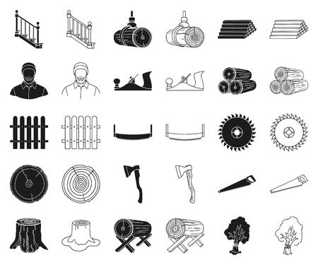 Aserradero y madera, negro, iconos de contorno de colección set de diseño. Ilustración de stock de símbolo de vector de hardware y herramientas.