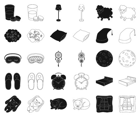 Rest and sleep black,outline icons in set collection for design. Accessories and comfort vector symbol stock web illustration.