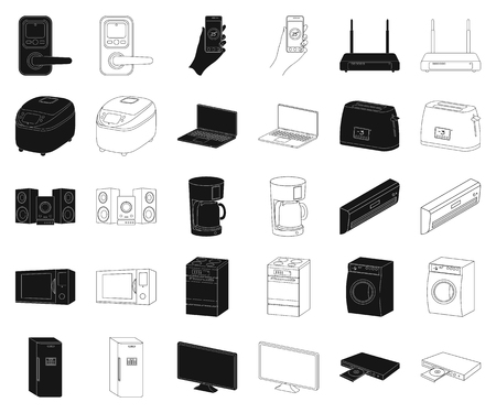 Smart home appliances black,outline icons in set collection for design. Modern household appliances vector symbol stock illustration.