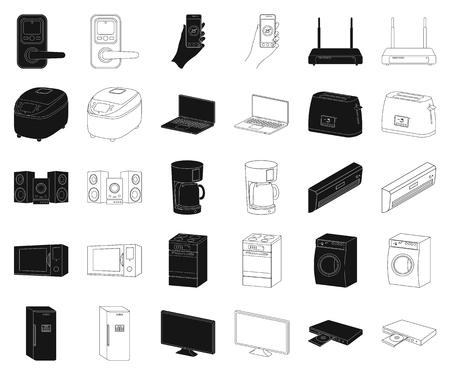 Smart home appliances black,outline icons in set collection for design. Modern household appliances vector symbol stock illustration.