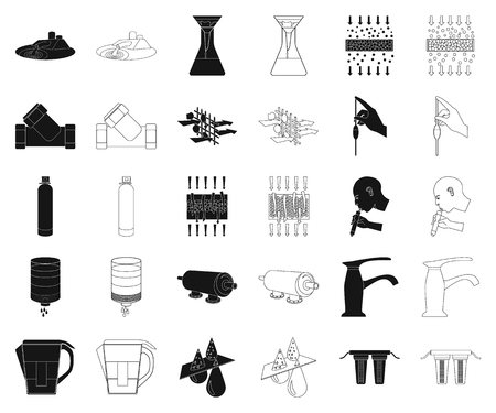 Water filtration system black,outline icons in set collection for design. Cleaning equipment vector symbol stock web illustration.