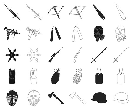 Types of weapons black,outline icons in set collection for design.Firearms and bladed weapons vector symbol stock web illustration.