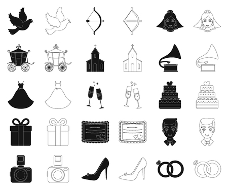 Wedding and Attributes black,outline icons in set collection for design.Newlyweds and Accessories vector symbol stock web illustration.