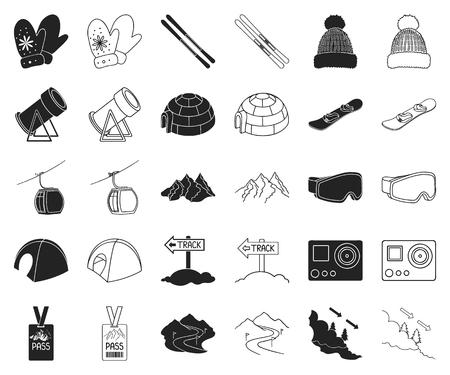 Stazione sciistica e attrezzature nere, icone di contorno nella raccolta di set per il design. Intrattenimento e ricreazione simbolo d'archivio web di vettore. Vettoriali