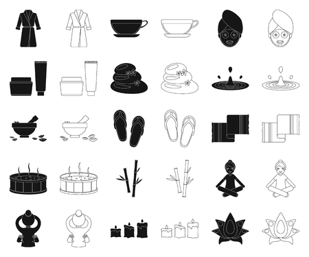 Spa salon and equipment black,outline icons in set collection for design. Relaxation and rest vector symbol stock web illustration. Çizim