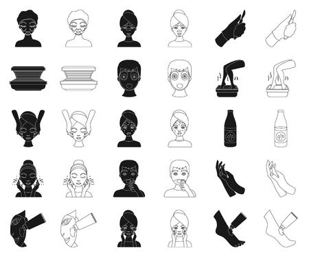 Icone nere di cura della pelle nella raccolta di set per il disegno. Viso e corpo simbolo d'archivio web di vettore. Vettoriali