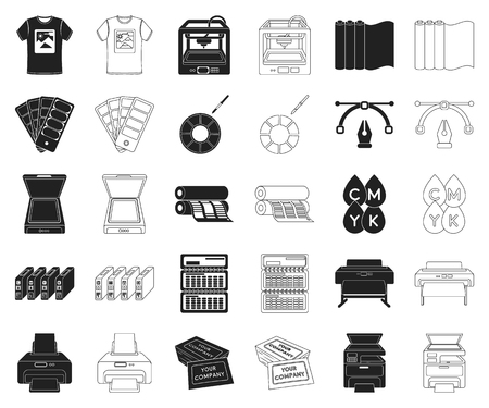 Typographical products black,outline icons in set collection for design. Printing and equipment vector symbol stock web illustration. Ilustração