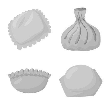 Vector illustration of dumplings and stuffed symbol. Set of dumplings and dish stock vector illustration.