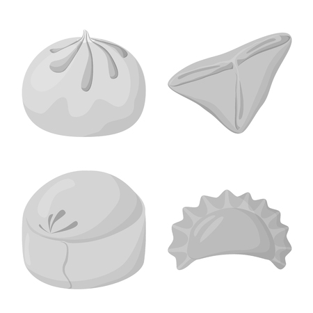 Vector design of dumplings and stuffed sign. Collection of dumplings and dish stock symbol for web.