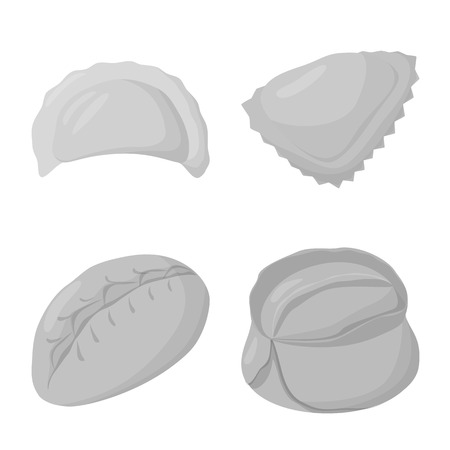 Vector design of dumplings and stuffed icon. Collection of dumplings and dish vector icon for stock.