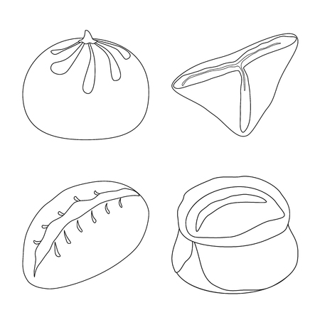 Vector illustration of food  and dish icon. Set of food  and cooking vector icon for stock. Illustration