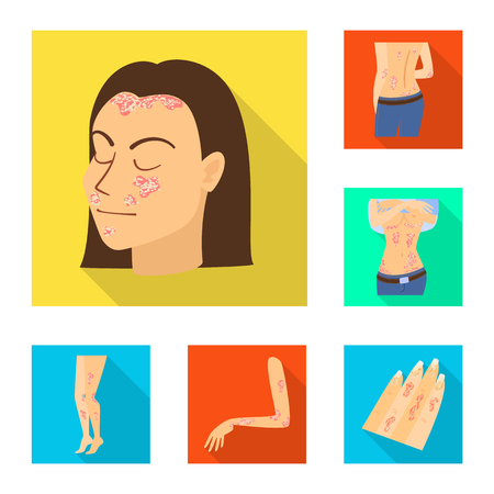 Vector illustration of dermatology and disease icon. Collection of dermatology and medical  stock symbol for web.
