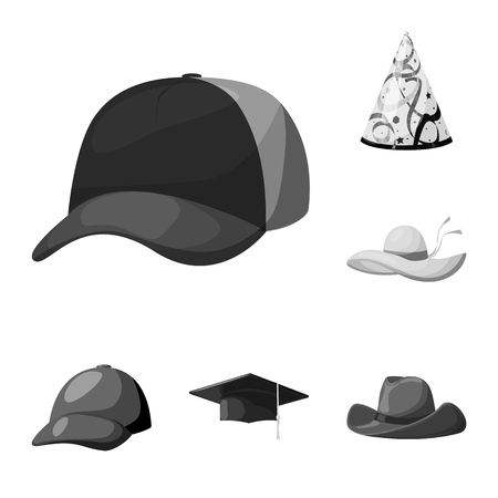 Isolated object of hat and helmet sign. Set of hat and profession stock symbol for web.